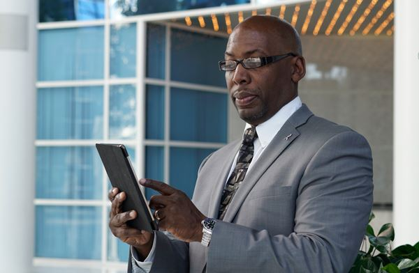 Businessman on iPad